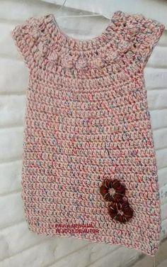 Paula Mengual Author's Fabrics: Tutorial Dress with round yoke (Crochet) Crochet Baby Dress Pattern, Black Crochet Dress, Crochet Shirt, Baby Knitting Patterns, Knit Crochet, Crochet Dresses, Crochet Toddler, Baby Girl Crochet, Crochet Baby Clothes