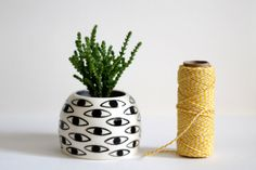 In LOVE with this! Eye Pot  Ceramic Vase  Cache Pot by KinskaShop on Etsy