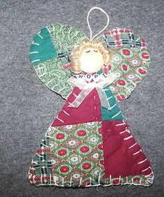 quilted angel Quilted Christmas Ornaments, Fabric Ornaments, Handmade Ornaments, Christmas Angels, Christmas Sewing Projects, Holiday Crafts, Christmas Makes, Christmas Fun, Angel Crafts