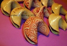 Stoneware Fortune Cookies Wedding Favors by ambersartistry on Etsy