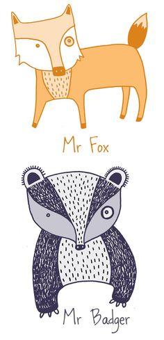Mr. Fox & Mr. Badger http://1.bp.blogspot.com/-zcrkZZfNwjQ/TgEG2gVv8TI/AAAAAAAAB14/rUyie-CzatE/s1600/woodlandanimalblog.jpg