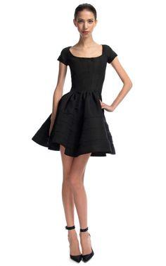 Black Scoop Neck Flounce Dress by Zac Posen for Preorder on Moda Operandi