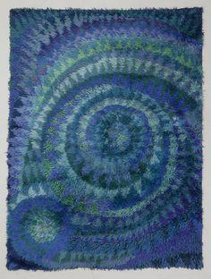 Marjetta Metsovaara; Wool 'Blue Seashell' Rya Rug for Finnrya, 1960s.