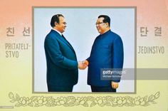 News Photo : Postcard celebrating a meeting between Marshall...