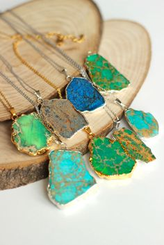 OOAK Natural variscite slab necklace, variscite slice necklace, gold or silver electroplated a perfect gift wedding, christmas, mother's day by BridesWeddingStore on Etsy https://www.etsy.com/listing/231235514/ooak-natural-variscite-slab-necklace