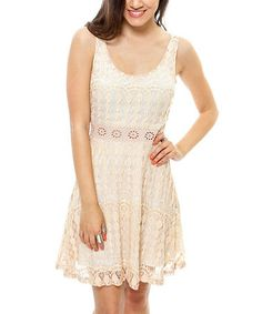 Look what I found on #zulily! Taupe & Ivory Lace Overlay Sleeveless Dress by Cecico #zulilyfinds