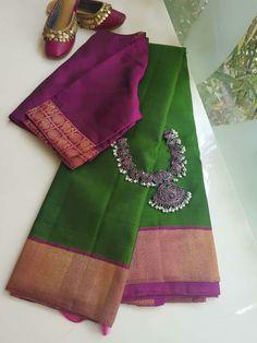 Cotton Saree Designs, Saree Blouse Neck Designs, Saree Blouse Patterns, Fancy Blouse Designs, Saree Color Combinations, Saree Dress, Sari, Trendy Sarees, Elegant Saree