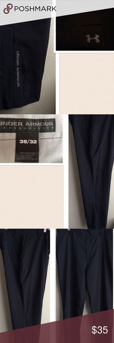 """Under Armour Men's Pants 💲Final 💲 Under Armour Men's Pants. Flat front design with zipper closure. 2 side pockets, 2 back pockets with button closure, signature logo on back center belt loop, signature logo at the bottom of left pants foot. Material: 96% polyester 4% Elastane, Color: Black. Size: 38/32 Seam: 32"""", Length: 43.5"""". Preowned with a small sign of wear on the hem of both. Hardly noticeable. Otherwise gently worn. If this condition is not right for you do not purchase. Thanks for…"""