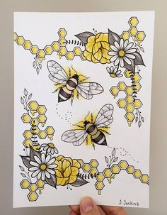 Sweeter Than Honey. Bee Stippling Drawings in Ink. Click the image, for more art by Dylan Brady. Cool Art Drawings, Pencil Art Drawings, Art Drawings Sketches, Easy Drawings, Drawing Ideas, Flower Drawings, Bullet Journal Art, Bullet Journal Ideas Pages, Bullet Journal Inspiration