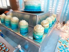 Ombre Mini Cakes displayed at our Frozen Party  For Elsy's next party?