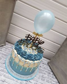 Balloon Cake Topper Confetti Mini Bunting Banner Garland Party Birthday Wedding Hen Baby Engaged Cake One Smash Light Blue Blue Birthday Cakes, Beautiful Birthday Cakes, 18th Birthday Cake For Guys, 2nd Birthday, Birthday Ideas, Cake Design For Men, Cupcake Cakes, Cupcakes, Fathers Day Cake