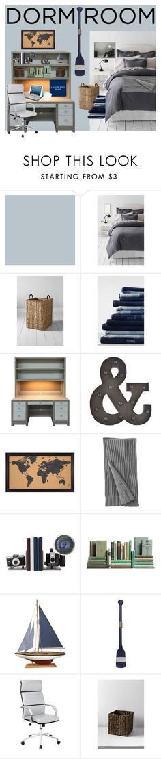 """Guys Dorm contest entry"" by britni-rn ❤ liked on Polyvore featuring interior, interiors, interior design, home, home decor, interior decorating, Lands' End, Patton Picture Company, Moss Studios and WALL"
