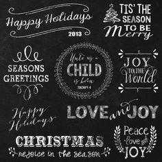 Christmas Chalkboard Elements and Clipart  by JubileeDigitalDesign
