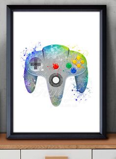 Nintendo 64 Game Controller Watercolor Print - Video Game Poster - Retro Poster - Playroom Art - Console Poster - Man Cave Decor