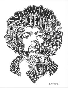 Words Acrylic Print featuring the drawing Jimi Hendrix Black And White Word Portrait by Kato Smock Jimi Hendrix Quotes, Jimi Hendrix Poster, Rock Posters, Concert Posters, Bob Marley, Word Art, Typography Portrait, Typography Images, Jimi Hendricks