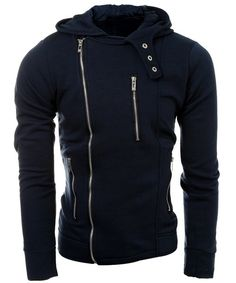 Casual Multi-Zippers Solid Color Long Sleeve Hoodie For Men