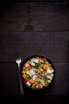 This healthy sweet potato, apple and avocado salad is paleo, gluten free, grain free and vegan!