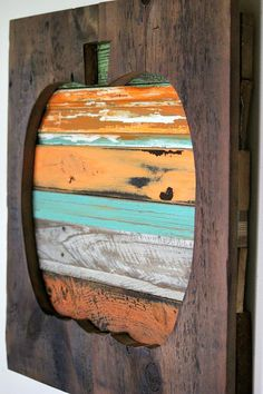 CUTE! salvaged reclaimed wood pumpkin http://bec4-beyondthepicketfence.blogspot.com/2014/10/salvage-style-reclaimed-wood-pumpkin.html
