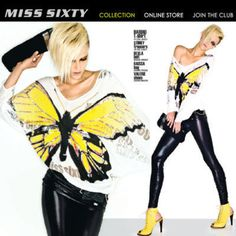 Stunning Butterfly MISS SIXTY Lady's Cool T-shirt Top