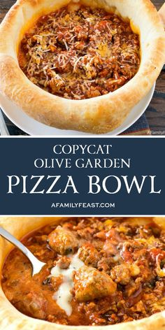 Olive Garden Pizza Bowl This Copycat Olive Garden Pizza Bowl tastes just like the original!This Copycat Olive Garden Pizza Bowl tastes just like the original! Dog Recipes, Pizza Recipes, Beef Recipes, Dinner Recipes, Cooking Recipes, Chicken Recipes, Sausage Recipes, Italian Dishes, Italian Recipes