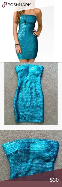 🥂✨ Sequin Bodycon Dress Perfect for holiday parties and New Years Eve! 🥂✨ Sequin bodycon dress • Strapless tube dress • All-over sequins in holographic blue • Elastic throughout allows for alluring body conforming fitted style • Extra elastic at the bust helps keep it from slipping • Bust is padded, so no bra needed! • Lined with a soft silky slip so it is not itchy! • Few sequins have been lost, but they aren't from a single spot and are unnoticeable • NWOT, never worn Forever 21 Dresses…