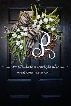 Cotton Grapevine Wreath Year Round Wreath Spring Wreath Summer Wreath Door Wreath Grapevine Wreath Cotton Wreath W Burlap Magnolia Wreath Year By Wreathdreams Front Door Decor, Wreaths For Front Door, Front Porch, Diy Wreath, Grapevine Wreath, Monogram Wreath, Tulle Wreath, Wreath Ideas, Spring Door