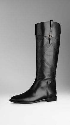 Embossed Check Panel Leather Riding Boots | Burberry