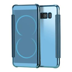 Blue FASHION FLIP MIRROR PLATING CASE+ LEATHER COVER HARD PLASTIC BACK COVER FOR SAMSUNG GALAXY NOTE 8 & NOTE 7   Samsung Galaxy Note 8/ Note8 cases products shops store buy for sale  website online shopping free shipping accessories  phone covers beautiful gifts AuhaShop.com protective