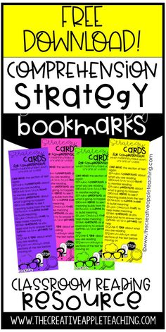 FREE Comprehension Strategy Bookmarks that your students can take around with them and use when meaning begins to break down. These 修理 strategy bookmarks are ideal for any reader.