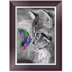 DIY 5D Diamonds Painting Round Cute Cat Butterfly Diamond Embroidery Cross Stitch Kits Diamond Mosaic Home decor 30*40cm W215