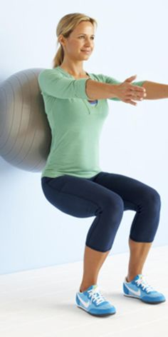 Ball squat with front raise - Try these simple moves using an exercise ball to strengthen and tone your body.