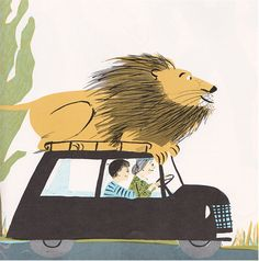 visual writing prompt  - The Happy Lion's Vacation, 1967. Illustrations by Roger Duvoisin.