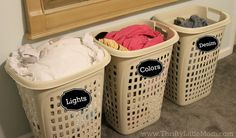 Separate your colors well ahead of time by using designated hampers. | 29 Brilliant Ways To Organize Your Laundry Room