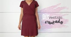 DIY Wrap dress, free pattern in Spanish V Dress, Dress With Bow, Wrap Dress, Diy Clothing, Sewing Clothes, Diy Vestido, Apparel Design, Dress Patterns, Short Sleeve Dresses