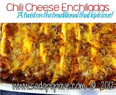 Chili Cheese Enchiladas. These are so fast and easy (only 4 ingredients) and kids love this recipe!