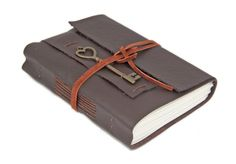 Dark Brown Leather Journal with Heart Key Bookmark - Ready to ship - by boundbyhand on Etsy https://www.etsy.com/listing/236419350/dark-brown-leather-journal-with-heart