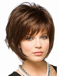 Sassy tousled layered bob with fringe