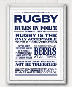 Hey, I found this really awesome Etsy listing at https://www.etsy.com/listing/117259015/printable-rugby-house-rules-typographic