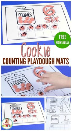 Learn to count with these fun cookie-themed playdough counting mats! A fun educational cookie activity for preschool and kindergarten.