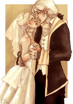 Lucius and Narcissa on their wedding day