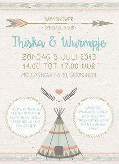 Uitnodiging Babyshower, gemaakt door Willlemijn Staal (www.mijnerzijds.nl)
