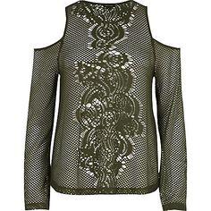 Khaki mesh flare sleeve cold shoulder top $24.00