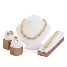 Trendy Mesh Necklace Set: Gold and Platinum-Plated Necklace, Earrings, Bracelet, and Ring