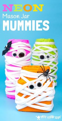 MASON JAR MUMMIES - Spooky Neon Mason Jar Mummies are a fun Halloween craft. These colourful mummies look great day and night! Fill them with candy for Halloween treats or tea lights for Mummy Luminaries. #kidscraftroom #halloweencrafts #halloween #kidscrafts #mummy #mummycrafts #masonjarcrafts #masonjars #recycledcrafts #halloweentreats #halloweendecorations Kids Crafts, Halloween Crafts For Kids To Make, Mummy Crafts, Theme Halloween, Halloween Activities, Halloween Kids, Halloween Treats, Halloween Decorations, Kids Diy