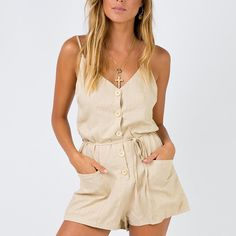 Cotton Army Green Playsuits Women With Buttons Spaghetti Strap Summer Clothes Sexy Backless Playsuits Women Rompers With Pockets Rompers For Teens, Rompers Women, Jumpsuits For Women, Sexy Outfits, Summer Outfits, Summer Clothes, Backless Playsuit, Romper Outfit, Summer Clothing