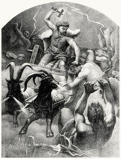 Thor, the thunder-god.    From Teutonic mythology vol. 1, by Viktor Rydberg, London, 1907.    (Source: archive.org)