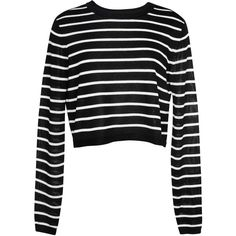 Tibi Nautical Stripe Sweater Cropped Pullover ($285) ❤ liked on Polyvore featuring tops, sweaters, crop top, jumpers, pullover sweater, striped crop top, crew-neck sweaters, black crewneck sweater and crew neck pullover sweater