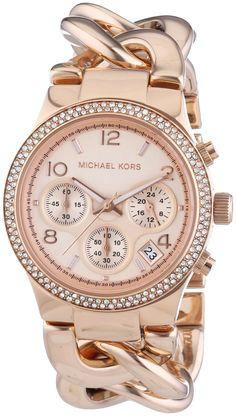Michael Kors MK3247 - Reloj de cuarzo para mujer, correa de acero inoxidable chapado color oro rosa
