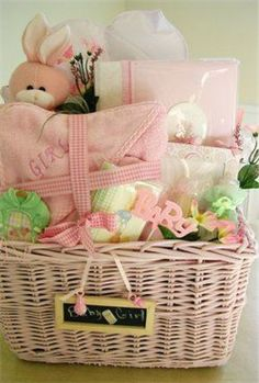 Fill Pull Bow /& Card Deco Fleur DIY Make Your Own Baby Girl Hamper Kit Gift Basket Baby Girl Cello
