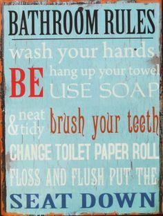 Best Bath Room Signs For Kids Letters Ideas Bathroom Rules, Bathroom Wall Decor, Bathroom Colors, Bathroom Interior Design, Bathroom Ideas, Bathroom Wallpaper, Bath Decor, Bathroom Organization, Bathroom Renovations